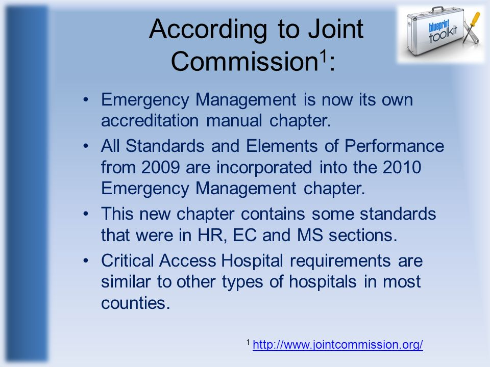 According to Joint Commission1: