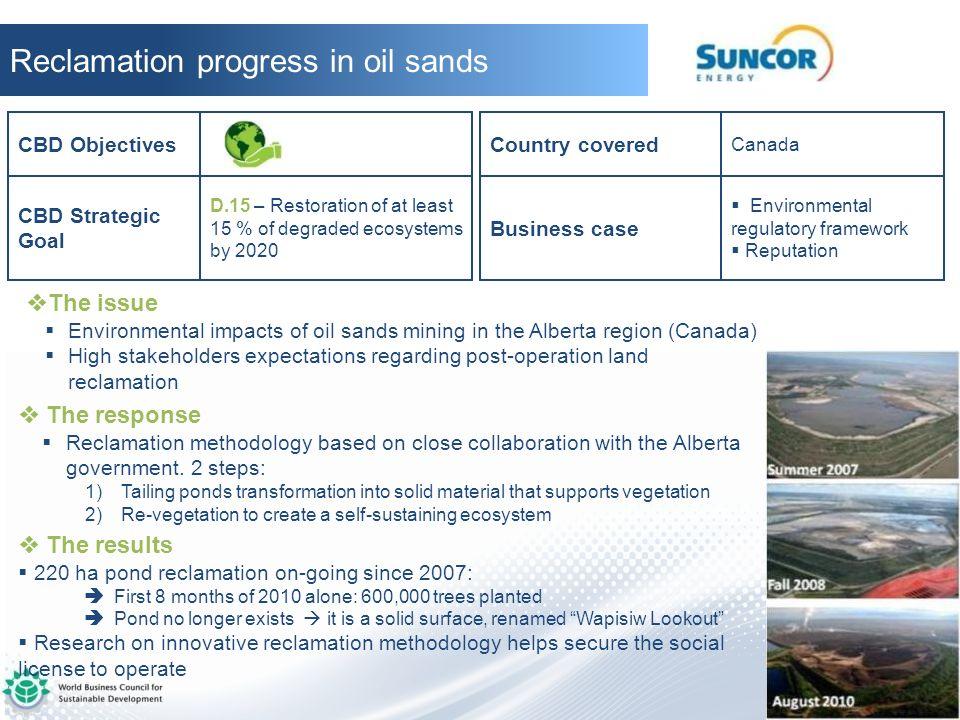 Reclamation progress in oil sands