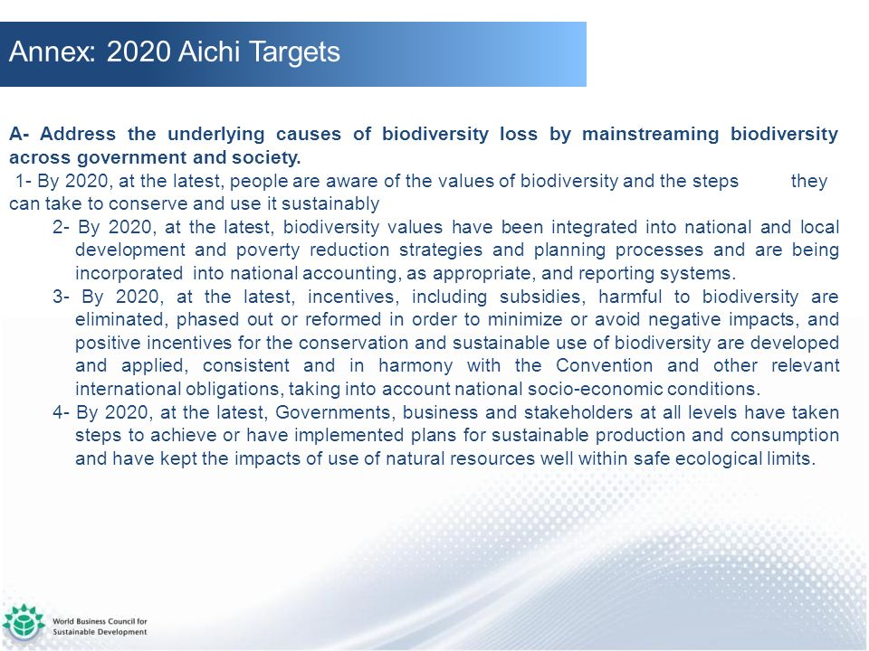 Annex: 2020 Aichi Targets A- Address the underlying causes of biodiversity loss by mainstreaming biodiversity across government and society.