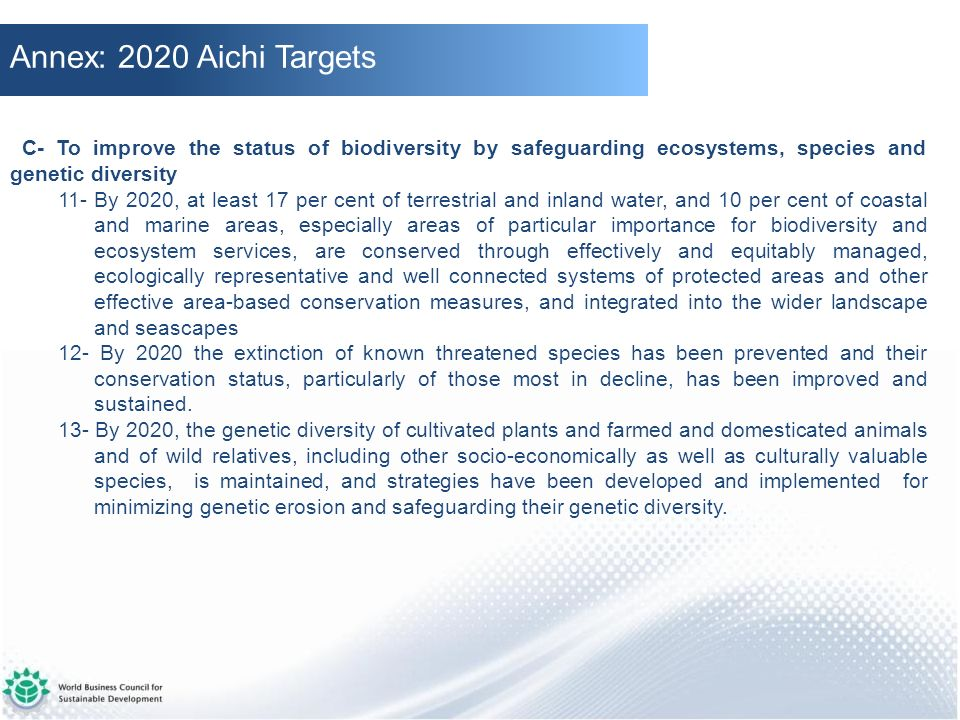 Annex: 2020 Aichi Targets C- To improve the status of biodiversity by safeguarding ecosystems, species and genetic diversity.