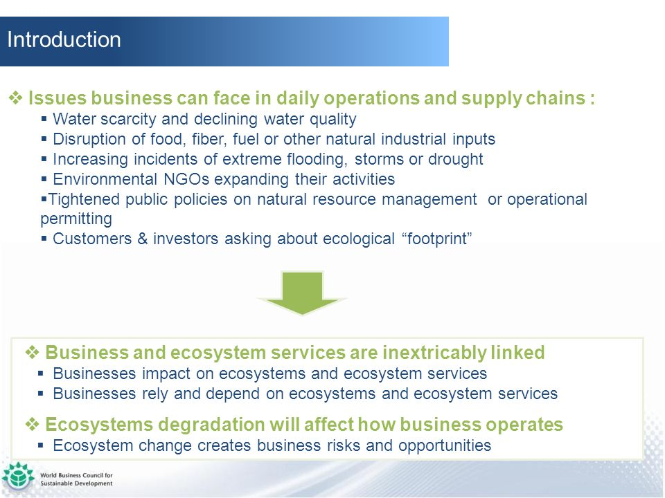 Introduction  Issues business can face in daily operations and supply chains : Water scarcity and declining water quality.