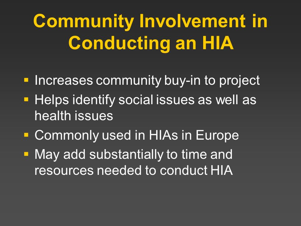 Community Involvement in Conducting an HIA