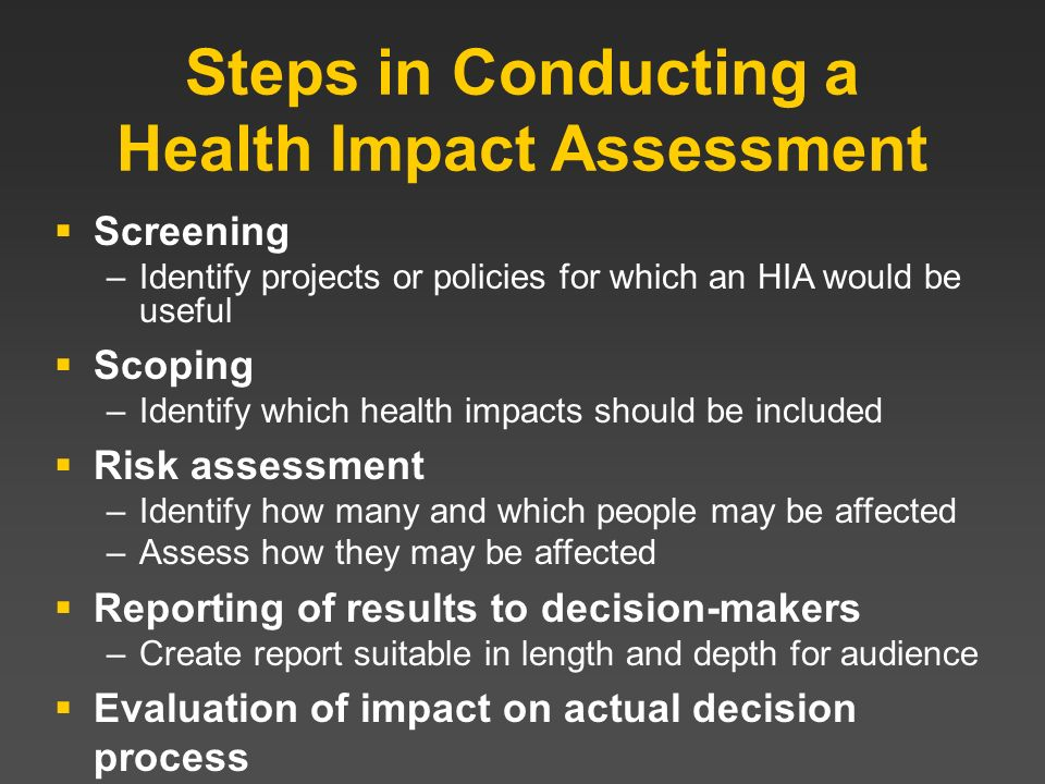 Steps in Conducting a Health Impact Assessment