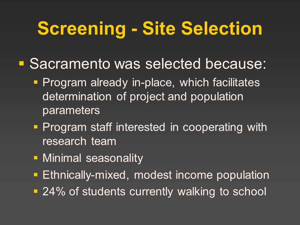 Screening - Site Selection
