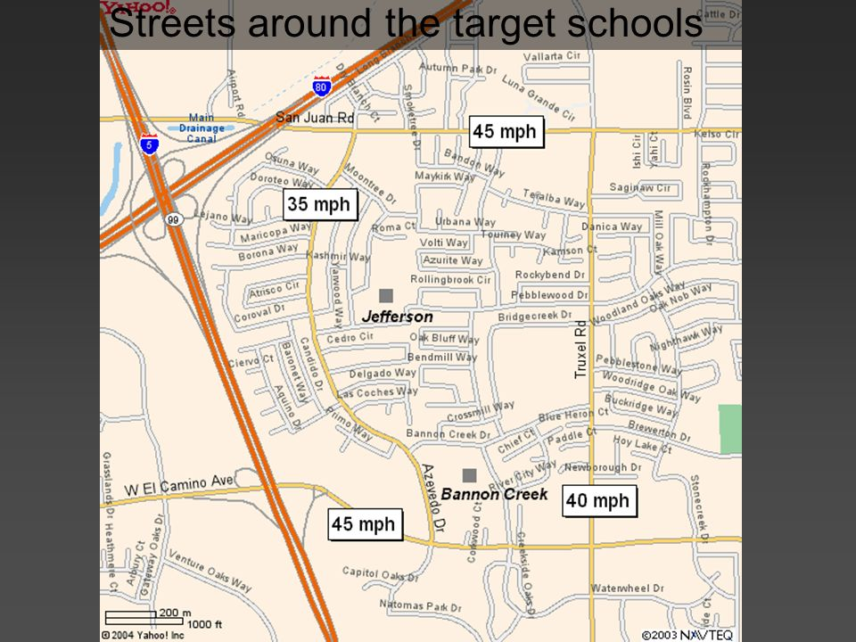 Streets around the target schools
