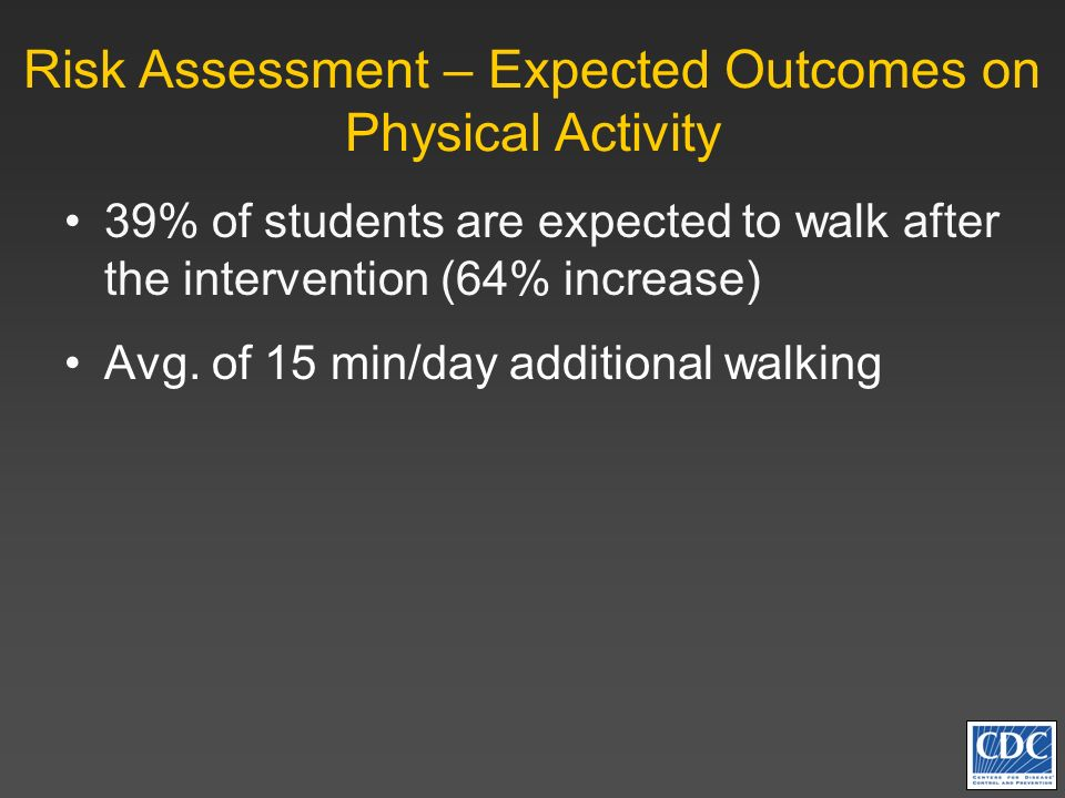 Risk Assessment – Expected Outcomes on Physical Activity