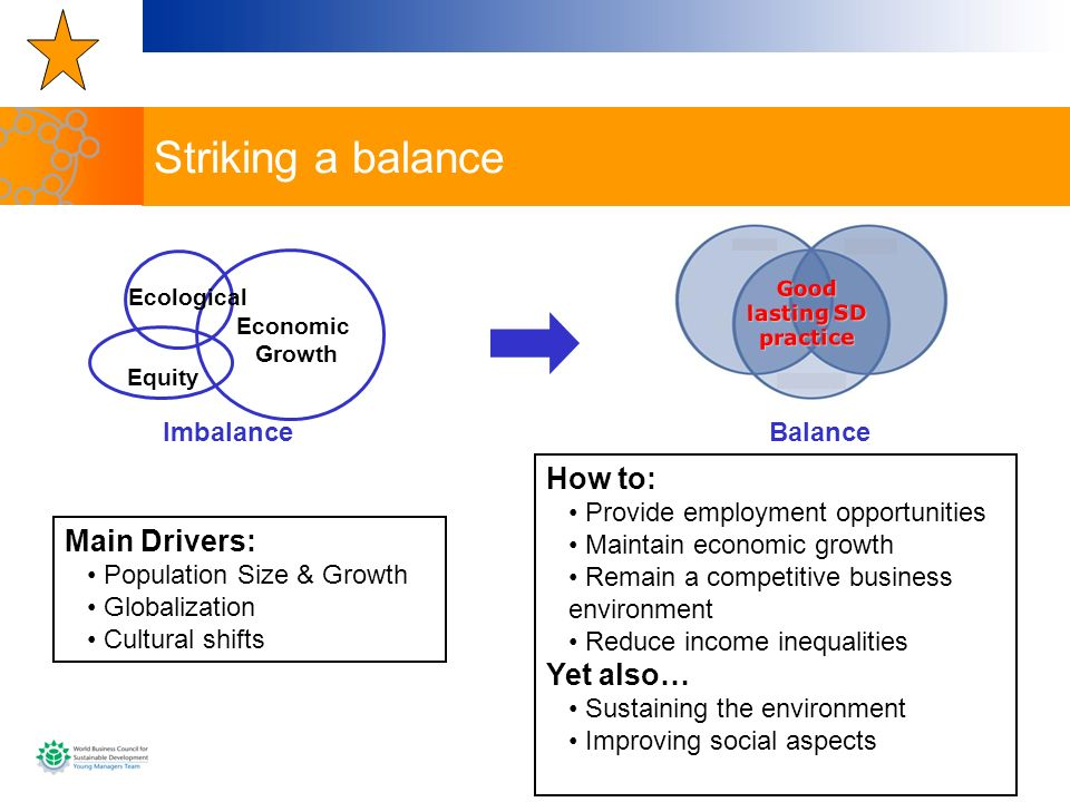Striking a balance How to: Main Drivers: Yet also… Imbalance Balance