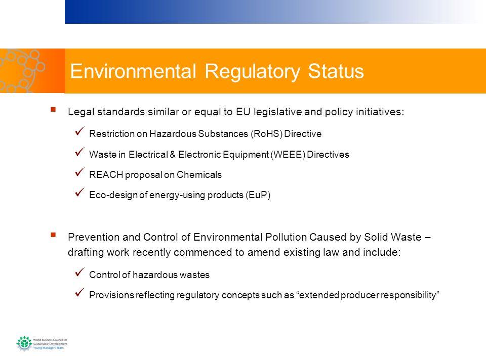 Environmental Regulatory Status