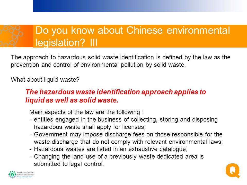 Do you know about Chinese environmental legislation III