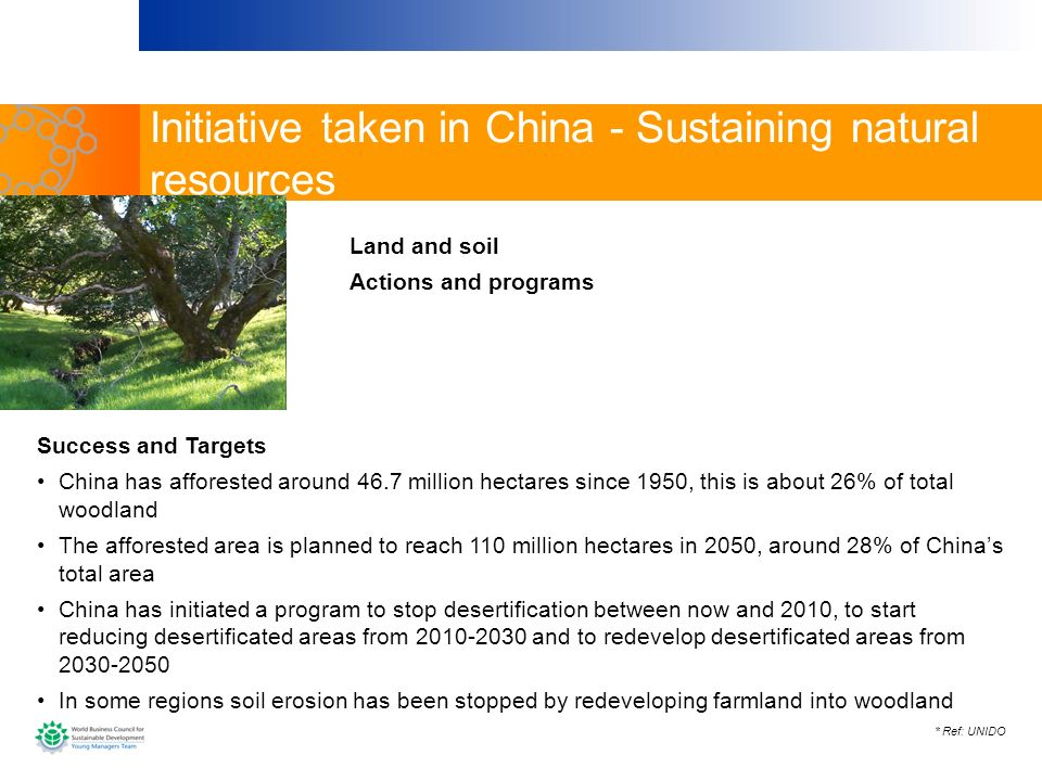 Initiative taken in China - Sustaining natural resources
