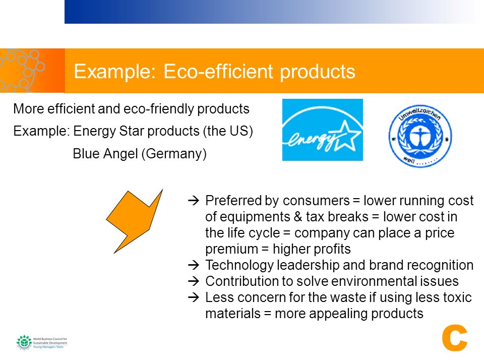 Example: Eco-efficient products