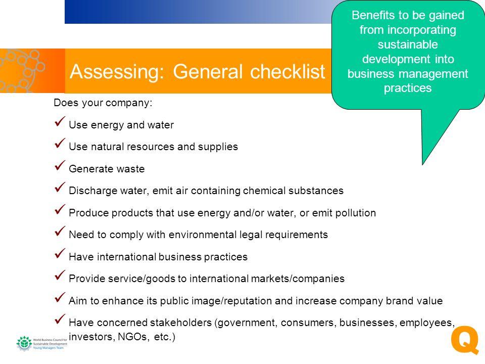 Assessing: General checklist