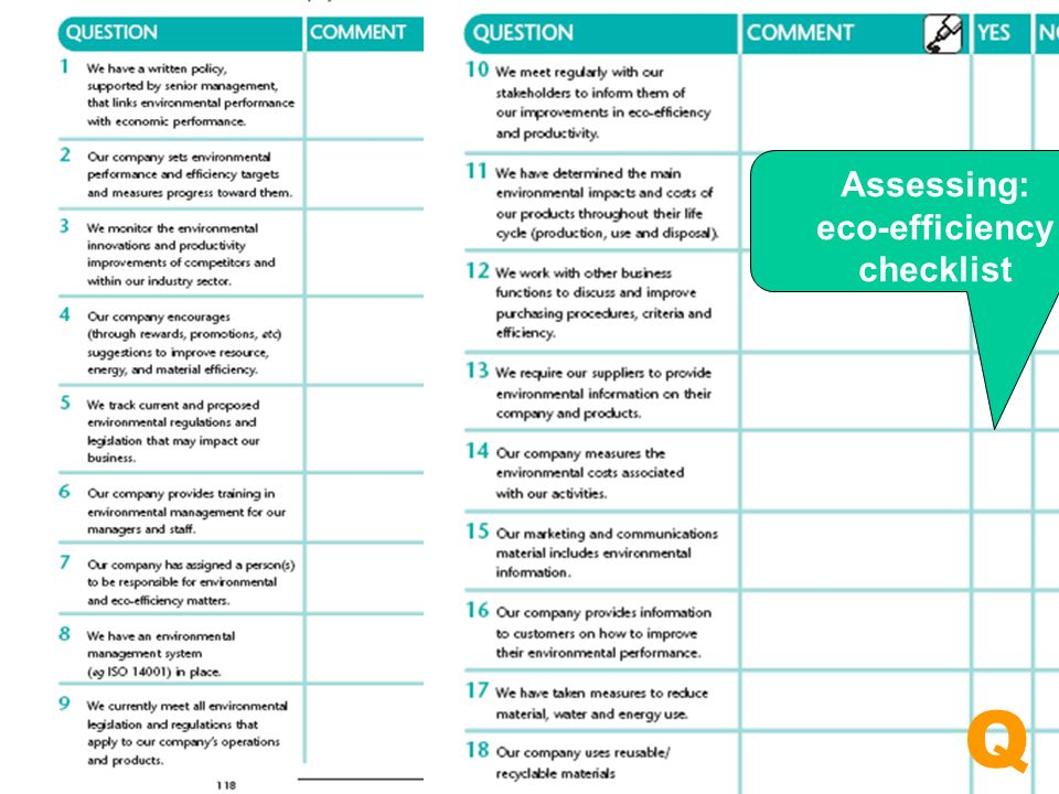 Assessing: eco-efficiency checklist