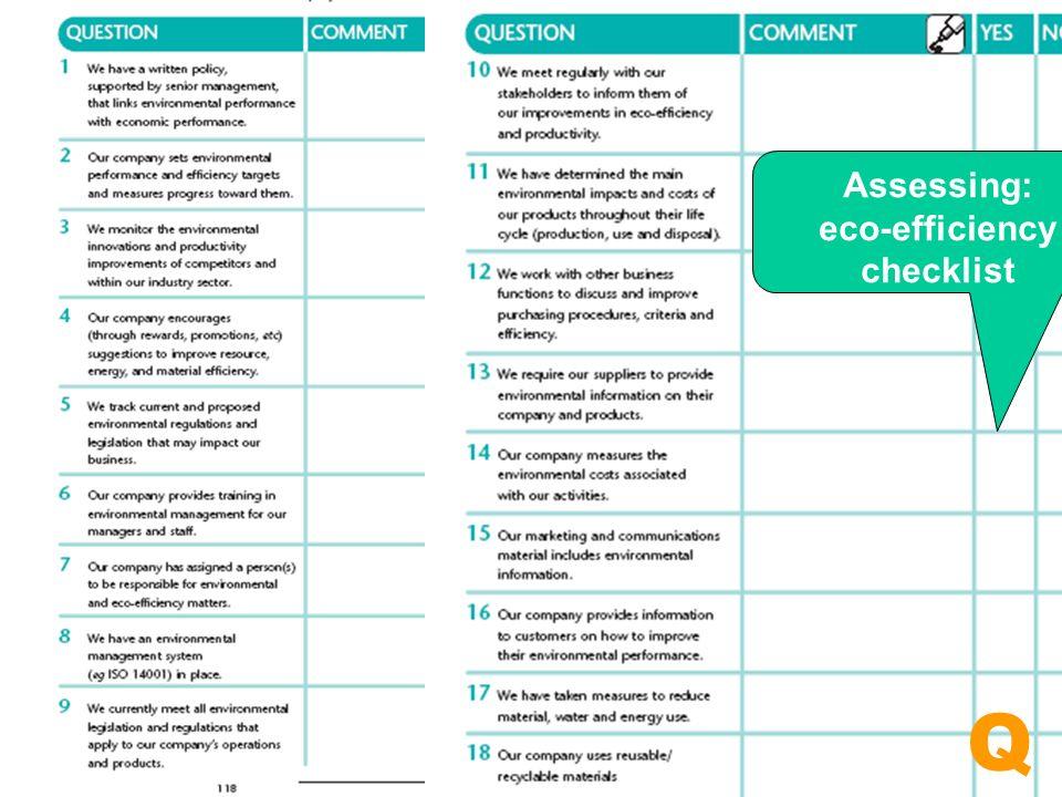 Assessing: eco-efficiency checklist