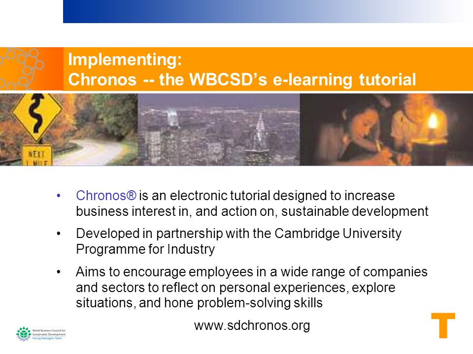Implementing: Chronos -- the WBCSD's e-learning tutorial