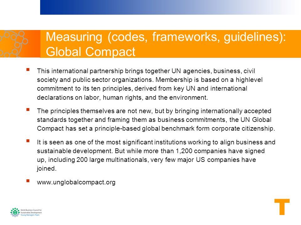 Measuring (codes, frameworks, guidelines): Global Compact