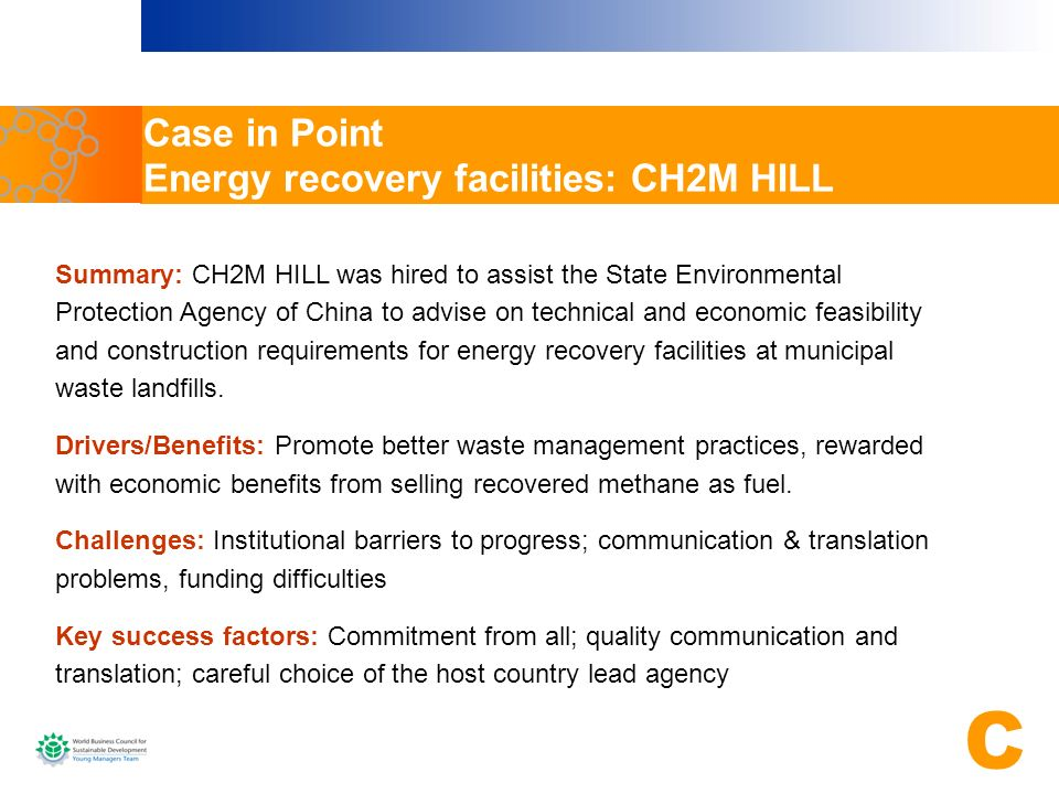 Case in Point Energy recovery facilities: CH2M HILL