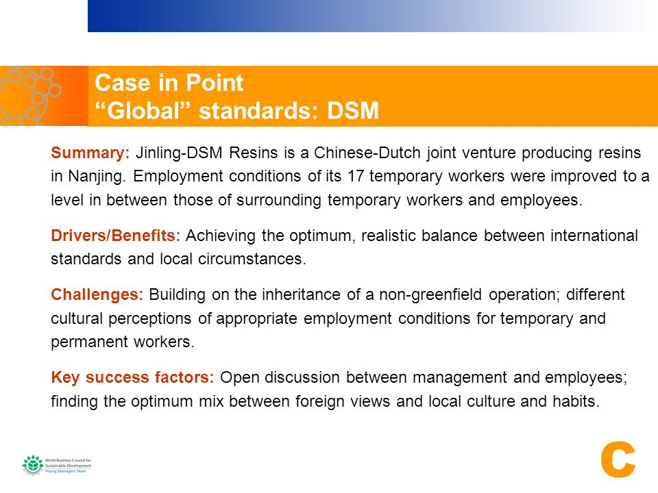 Case in Point Global standards: DSM