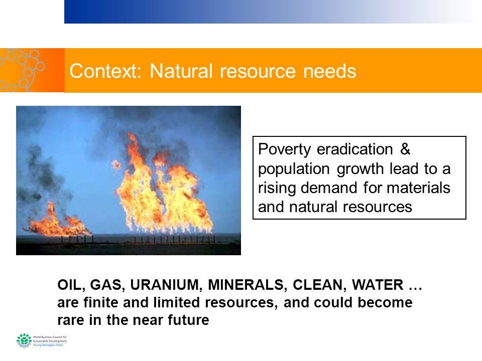 Context: Natural resource needs