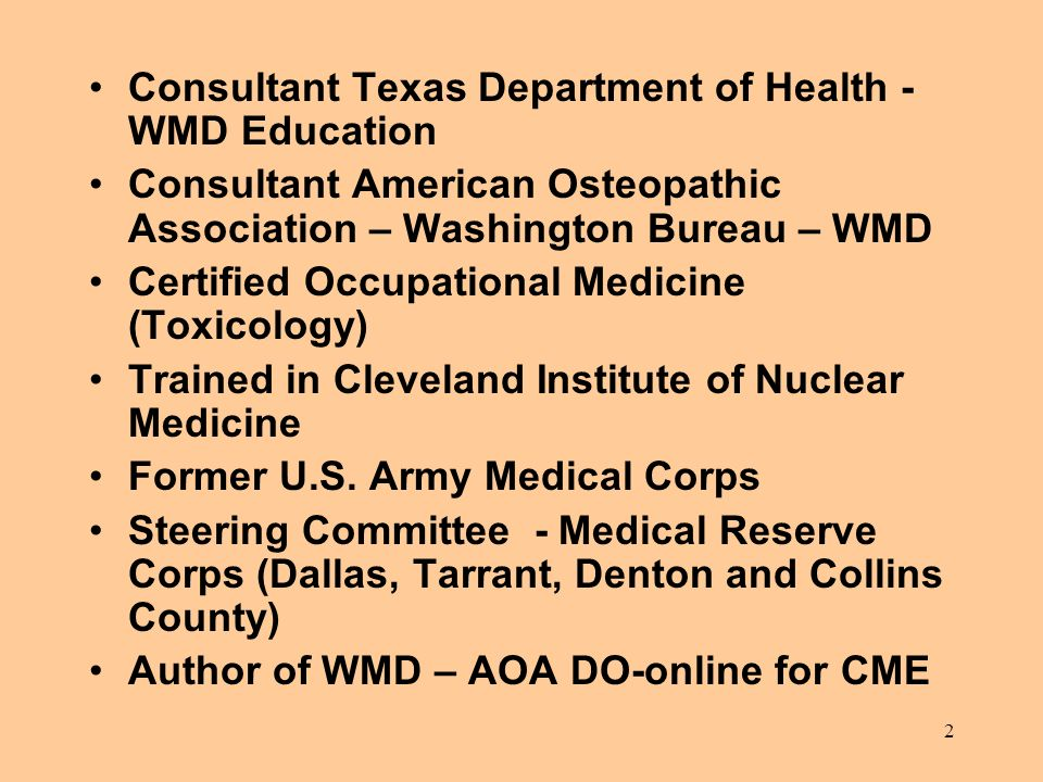 Consultant Texas Department of Health - WMD Education