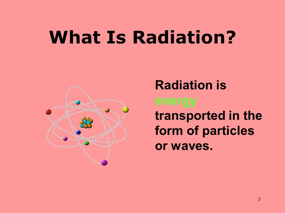 What Is Radiation. Radiation is energy transported in the form of particles or waves.