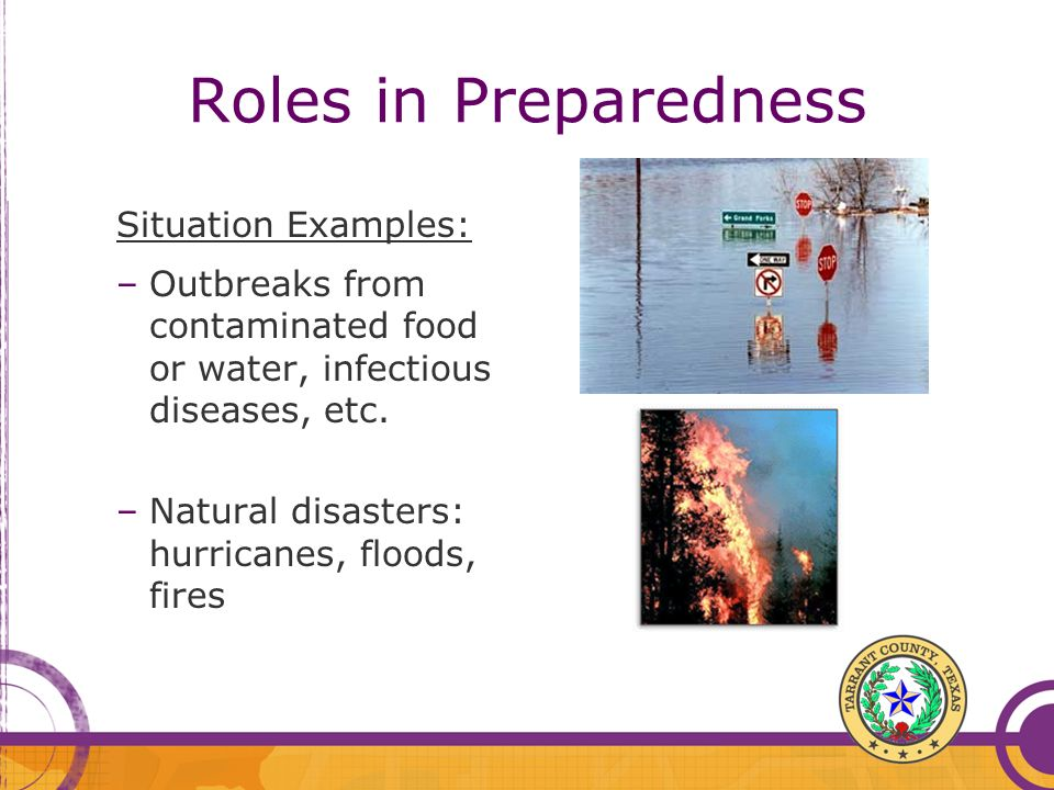 Roles in Preparedness Situation Examples: