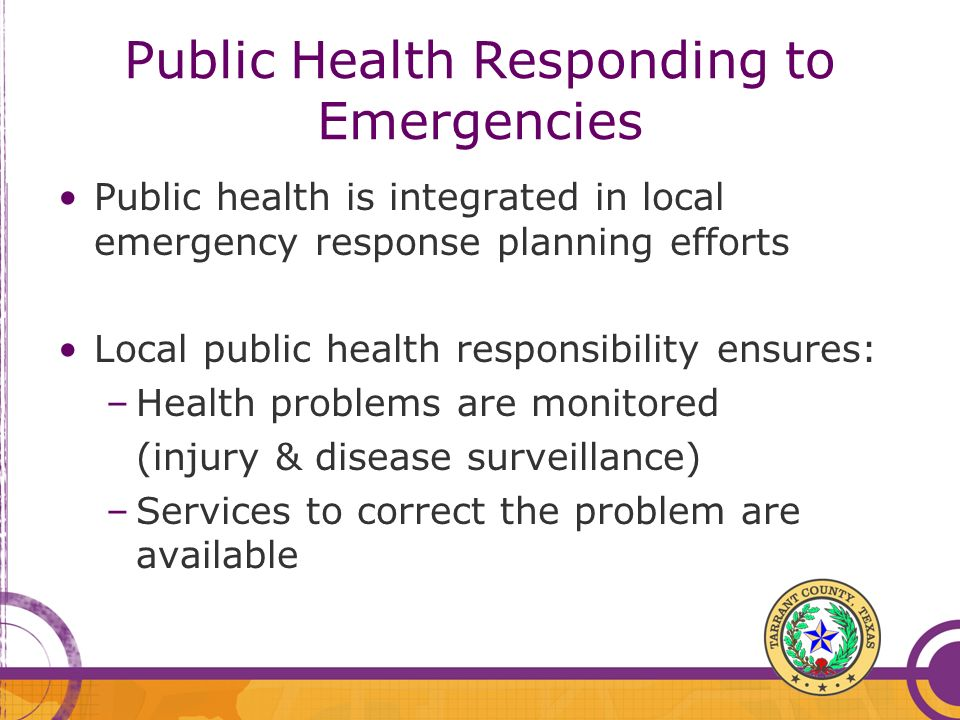 Public Health Responding to Emergencies