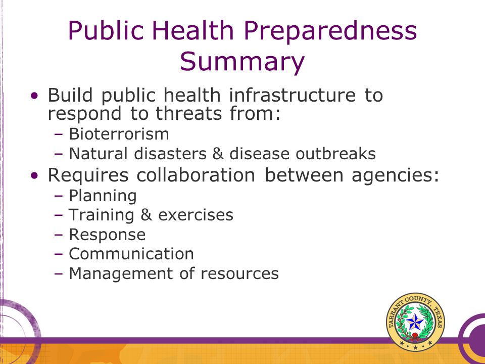 Public Health Preparedness Summary