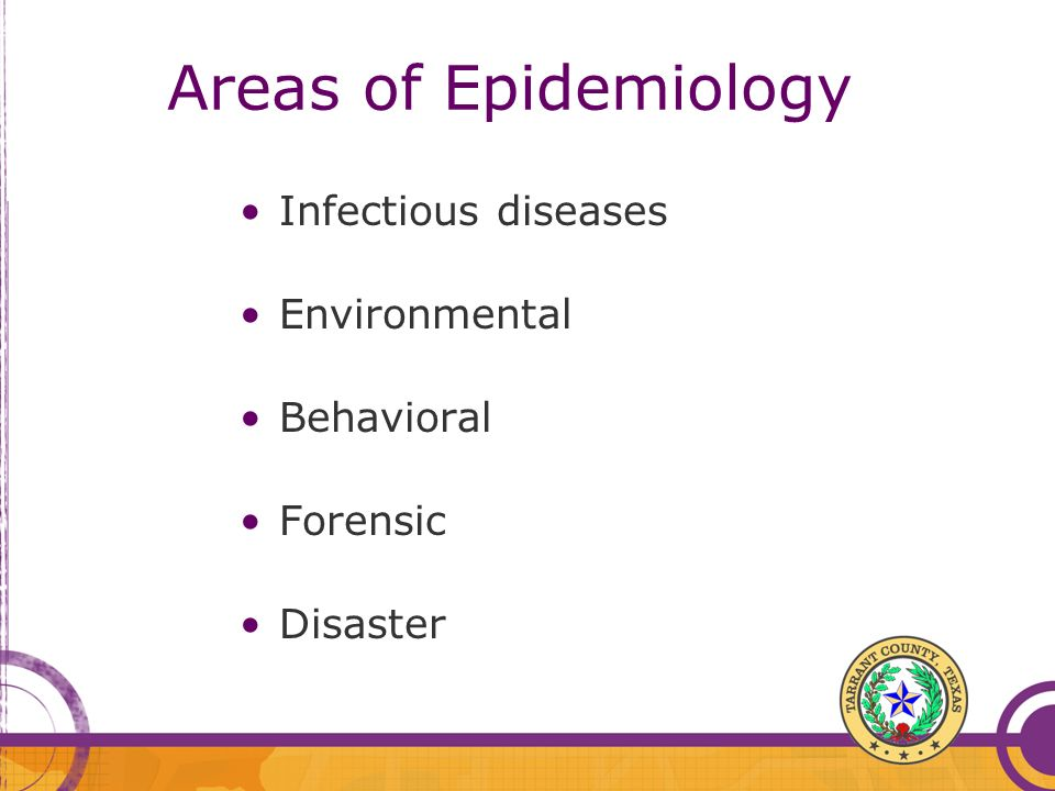 Areas of Epidemiology Infectious diseases Environmental Behavioral