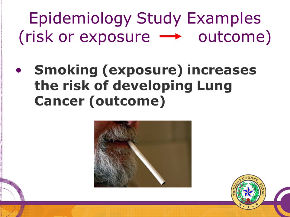 Epidemiology Study Examples (risk or exposure outcome)