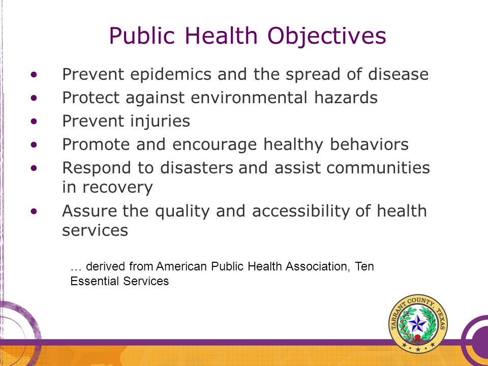 Public Health Objectives