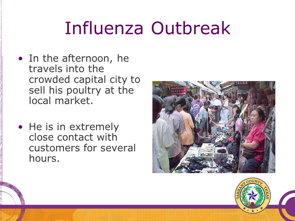 Influenza Outbreak In the afternoon, he travels into the crowded capital city to sell his poultry at the local market.