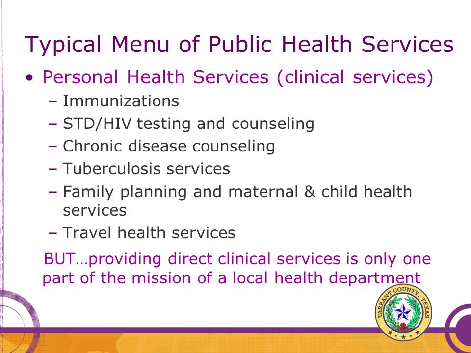 Typical Menu of Public Health Services