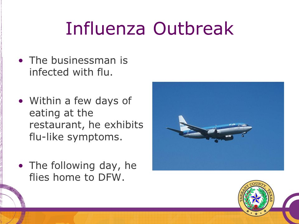 Influenza Outbreak The businessman is infected with flu.