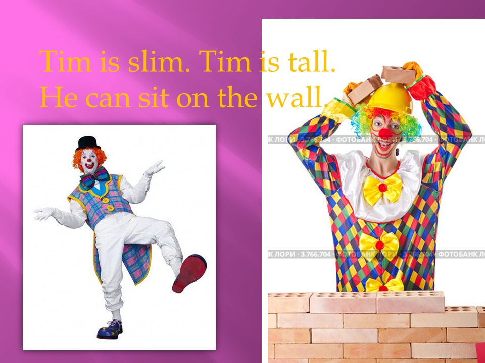 Tim is slim. Tim is tall. He can sit on the wall.