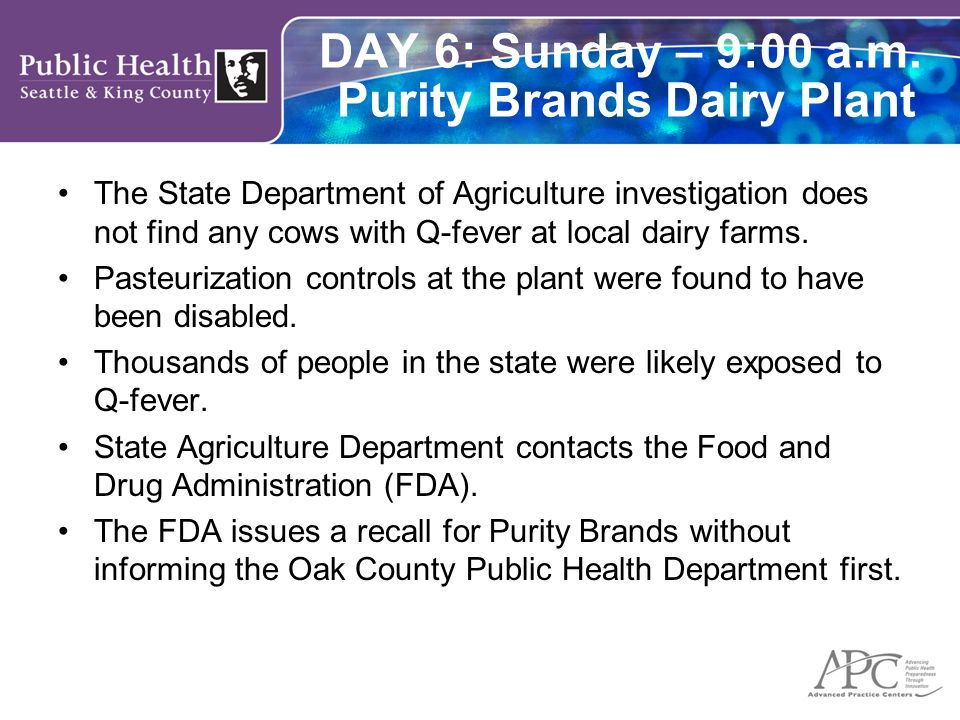 DAY 6: Sunday – 9:00 a.m. Purity Brands Dairy Plant