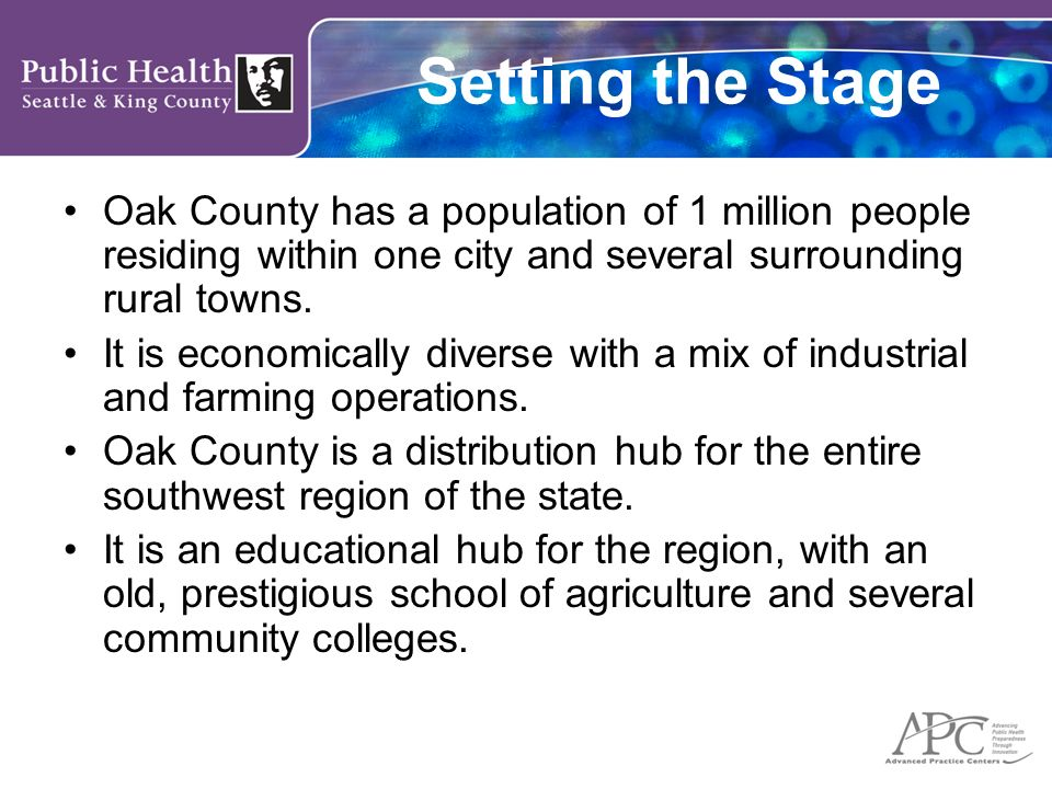 Setting the Stage Oak County has a population of 1 million people residing within one city and several surrounding rural towns.