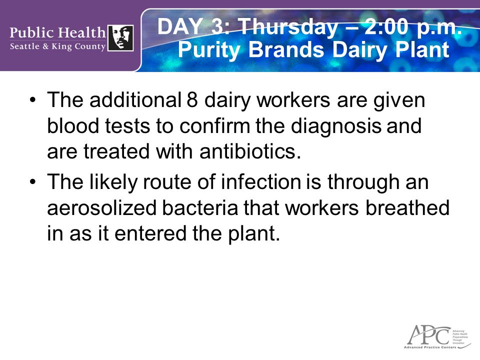 DAY 3: Thursday – 2:00 p.m. Purity Brands Dairy Plant