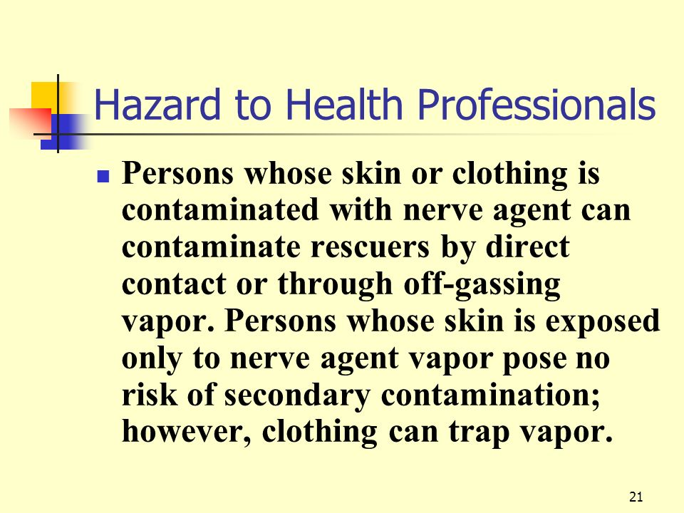 Hazard to Health Professionals