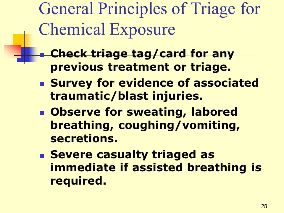 General Principles of Triage for Chemical Exposure