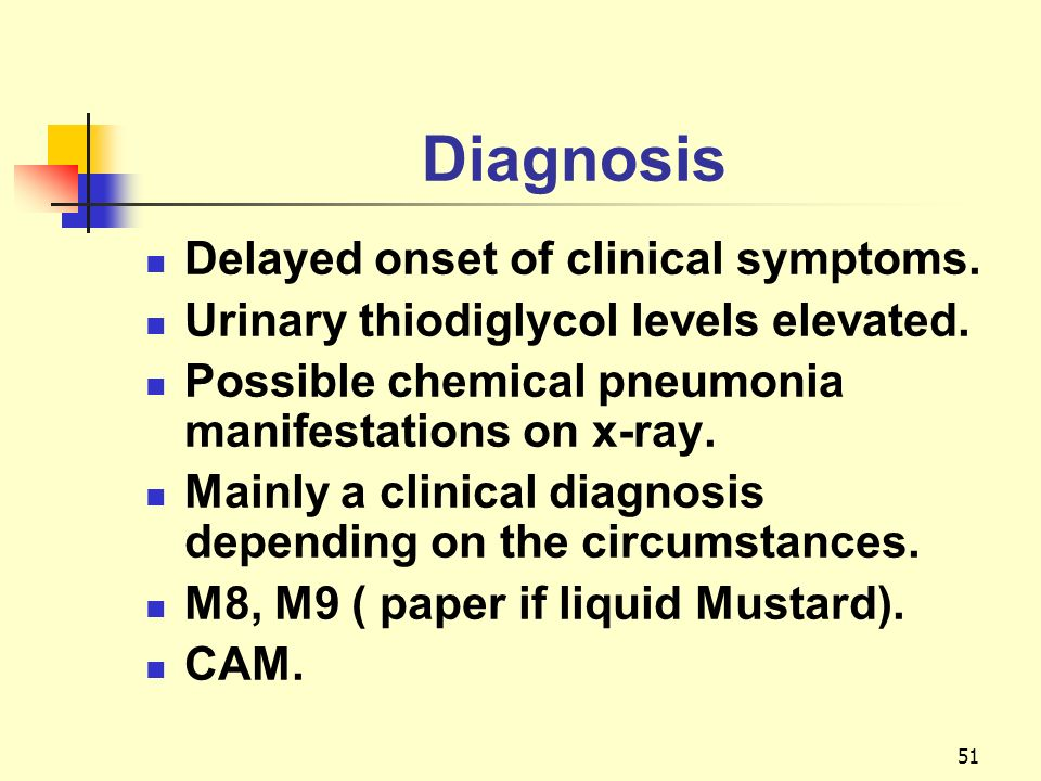 Diagnosis Delayed onset of clinical symptoms.