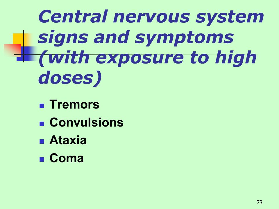Central nervous system signs and symptoms (with exposure to high doses)