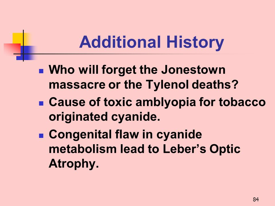 Additional History Who will forget the Jonestown massacre or the Tylenol deaths Cause of toxic amblyopia for tobacco originated cyanide.