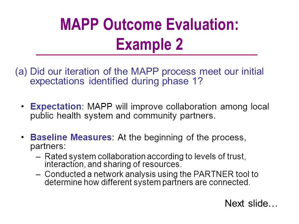MAPP Outcome Evaluation: Example 2