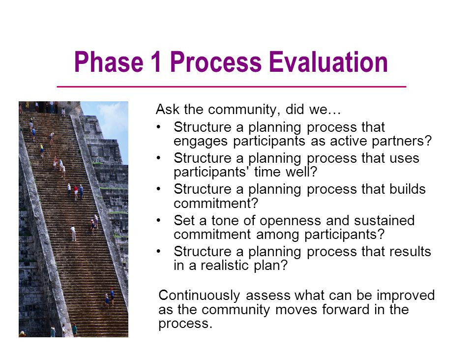 Phase 1 Process Evaluation