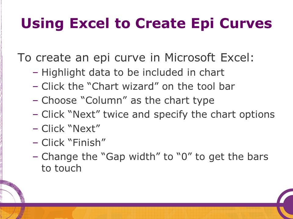 Using Excel to Create Epi Curves
