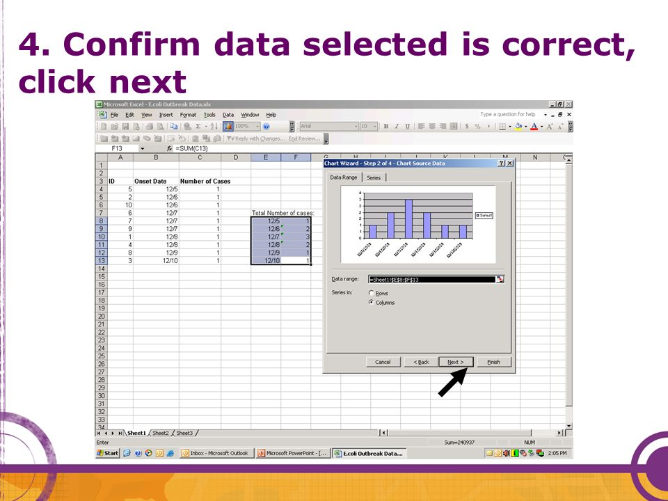 4. Confirm data selected is correct, click next