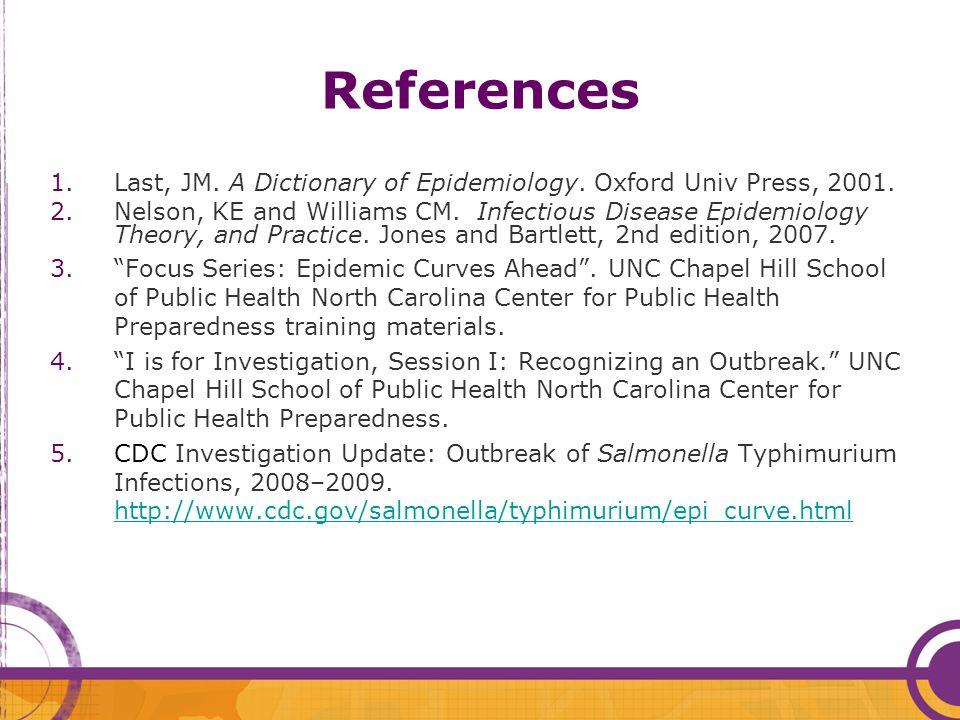 References Last, JM. A Dictionary of Epidemiology. Oxford Univ Press, 2001.