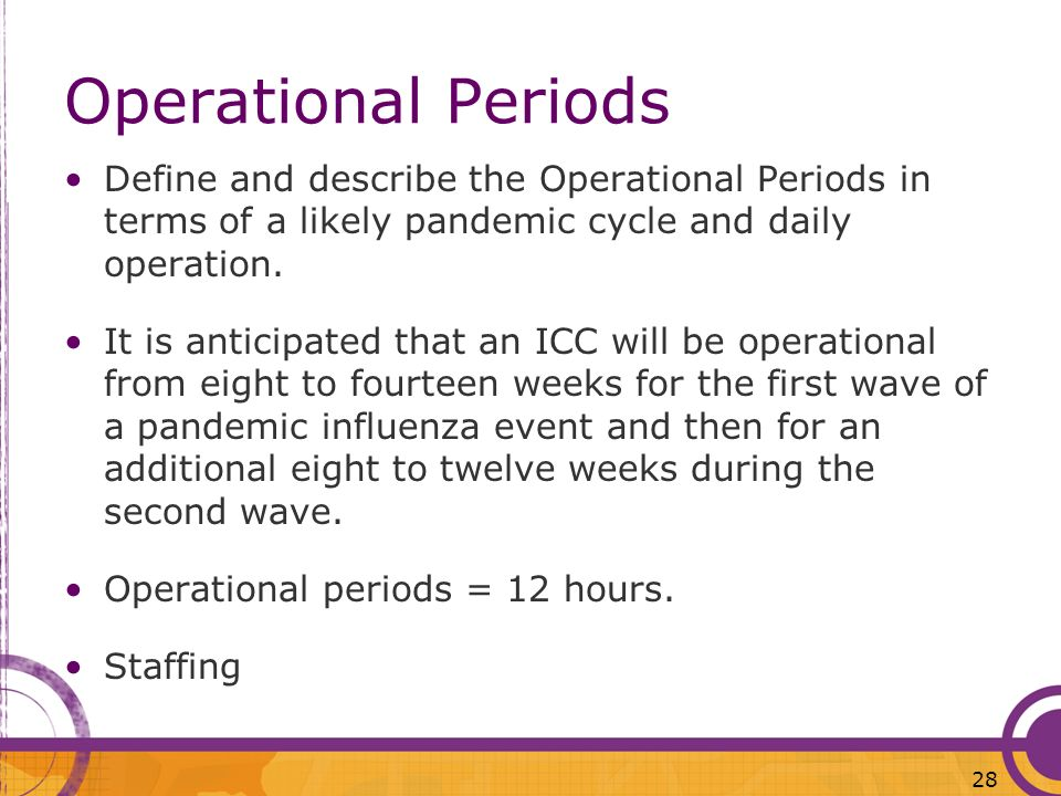 Operational PeriodsDefine and describe the Operational Periods in terms of a likely pandemic cycle and daily operation.