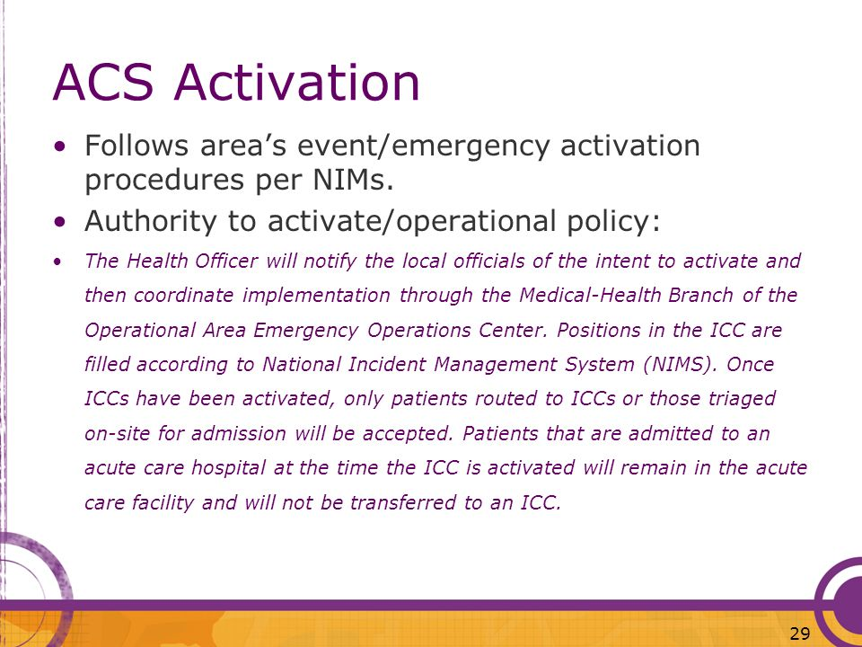 ACS ActivationFollows area's event/emergency activation procedures per NIMs. Authority to activate/operational policy:
